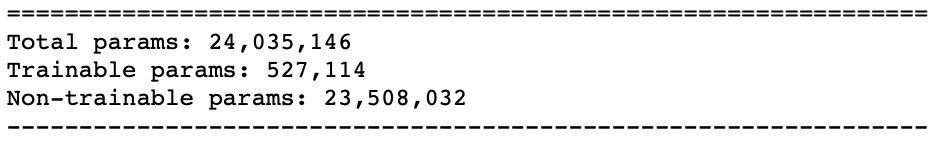 خلاصه تعداد پارامتر های پروژه کلاسه بندی تصویر