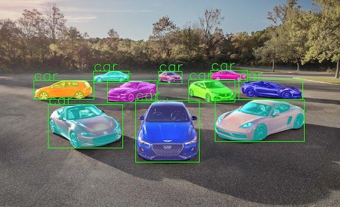 ناحیه بندی خودرو ها با الگوریتم Mask RCNN