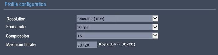 تنظیمات بیت ریت دوربین شبکه 360 10FPS