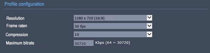 تنظیمات بیت ریت دوربین شبکه 720 30FPS